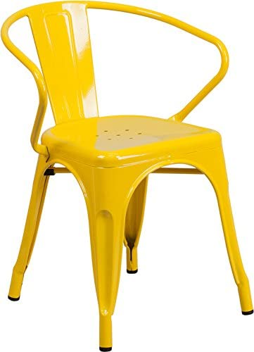 Industrial Style Yellow Metal Restaurant Chair with Arms – Indoor Outdoor Chair