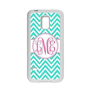 Monogram Personalized Turquoise Chevron Vs Pink Initials Pattern Samsung Galaxy S5 mini Best Plastic Cover