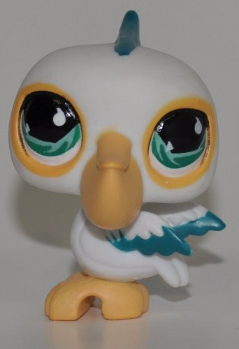 Collector Toy Retired LPS Collectible Replacement Single Figure - Littlest Pet Shop Pelican #517 White, Blue Eyes, Blue Detail, Oranger Beak//Feet Loose OOP Out of Package /& Print