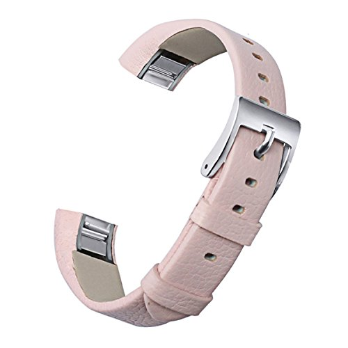 Pink Leather Band (bayite Replacement Leather Watch Bands for Fitbit Alta HR and Alta Blush Pink)