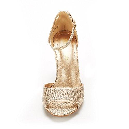 Heeled Toe Gold Glitter Sandals Open PAIRS Stilettos Women's Pump Fashion EILEENA DREAM Z8UqC