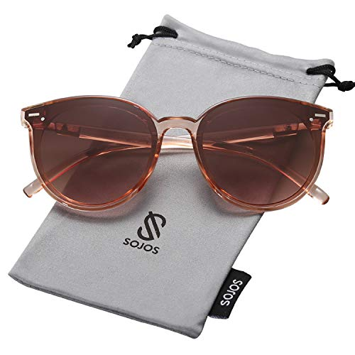 SOJOS Classic Round Retro Plastic Frame Vintage Inspired Sunglasses BLOSSOM SJ2067 with Clear Brown Frame/Brown Lens (Plastic Retro Sunglasses)