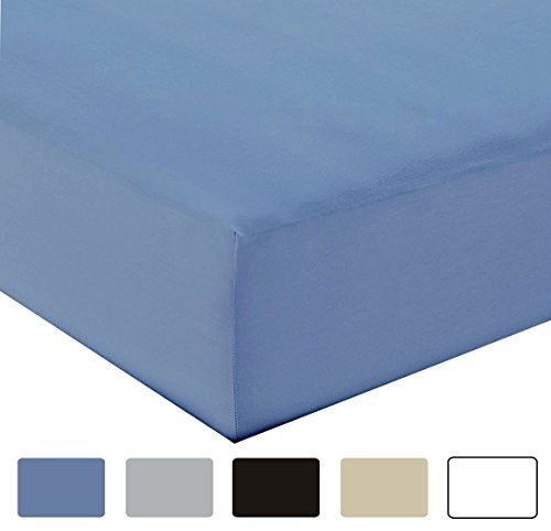 Fitted Sheet - Wrinkle Resistant Fitted Bottom Sheet, Deep Pocket Super Soft Full Size Fitted Blue Sheets, 14