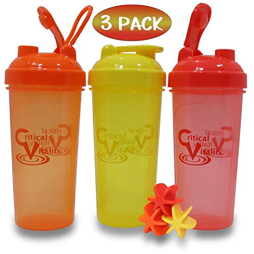 Protein Shaker Bottles by Critical Vitality   Red-Orange-Yellow 25oz/700ml Tumblers with Blender-Mixer-Balls, Leak Proof BPA Free Sports Travel Water Container Fits in Cup Holders and Dishwasher Safe