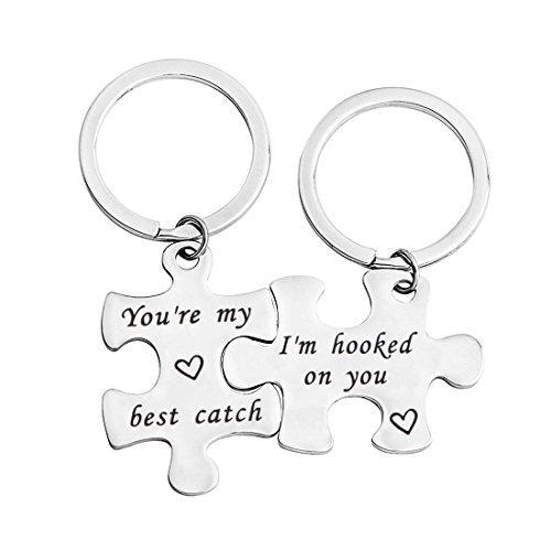bobauna His And Hers Puzzle Piece Keychain Set of 2 Hooked On You My Best Catch Anniversary Gift For Couples Boyfriend Girlfriend (hook catch set) by bobauna