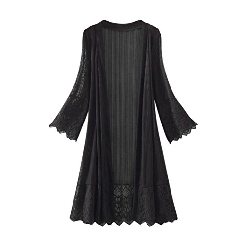 Funic Fashion Women Long Sleeve Lace Kimono Cardigan Top Blouse T-Shirt Beachwear (L, Black)