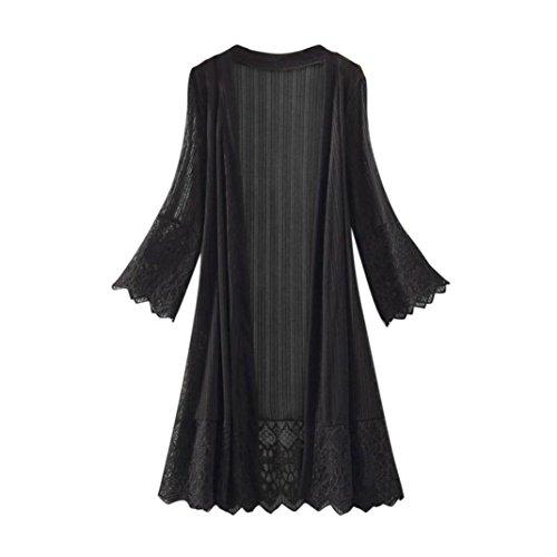 (Funic Fashion Women Long Sleeve Lace Kimono Cardigan Top Blouse T-Shirt Beachwear (2XL, Black))