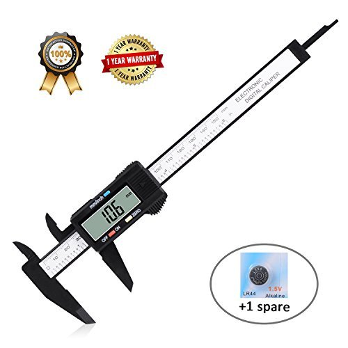 Electronic Digital Caliper, Vernier Calipers with Inch/MM Conversion,LCD Screen Auto Off Featured Measuring Tool,0-6 Inch/150 mm Carbon Fiber Gauge Micrometer Free Calipers