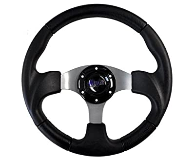 "MadJax-13"" Razor Steering Wheel Black w/ Black Hub Adapter for Club Car Precedent"