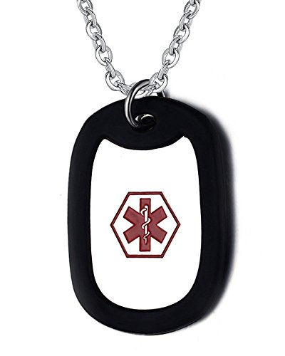 Free Engraving- Stainless Steel Medical Alert ID Black Silencer Dog Tag Pendant Necklace for Men with 24