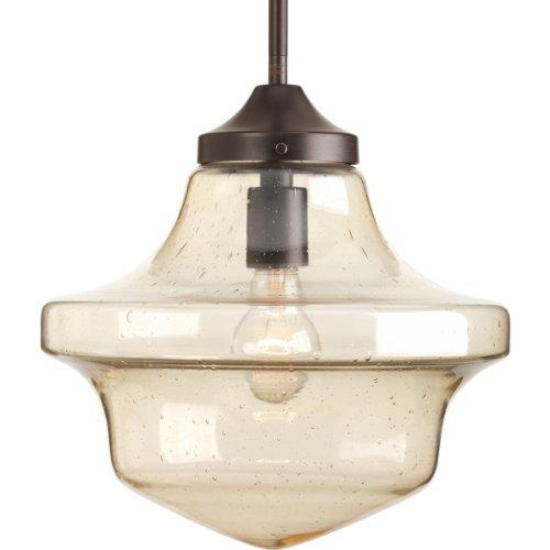 Progress Lighting P5138-20 1-Light Globe Pendant with Clear Light Umber Seeded Glass