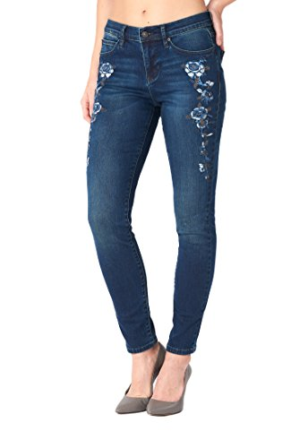 Nicole Miller New York SoHo Embroidered High-Rise Skinny Stretch Jeans for Women (Metallic Zip Fly Jeans)