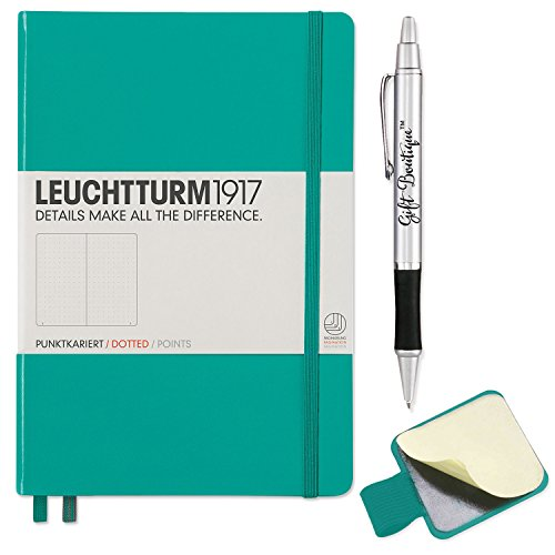 Leuchtturm1917 Hardcover Medium Dotted Notebook- Emerald- with Leuchtturm1917 Self-Adhesive Pen Loop and Gift Boutique Pen ()