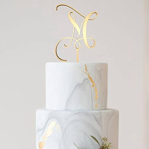 Letter M Monogram Cake Topper,Wedding Gold Cake Decoration Favors Cake Decorating Party Supplies -