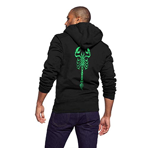 Sportswear Full Zip Up Club Fleece Hoodie Midweight Zip Front Hooded Sweatshirt Jacket for Men Man - Cool Galaxy Green Scorpion -