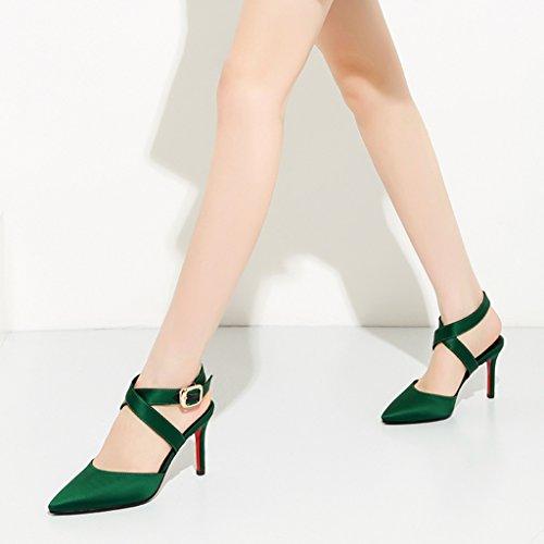 taille long225mm les Couleur hauts talons Single de souligné shoes sexy la avec mode female Shoes chaussures bien Vert femmes a des creux 35 Vert H77Bxfq