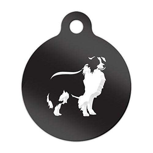 (Border Collie Engraved Keychain / Round Tag with Tab Mister Petlife sheep dog Black)