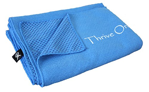 Thrive on Wellness Yoga Towel Mat - 74 in. X 26 in. Full Coverage Extra Large, Soft Microfiber Surface with Non-skid Silicone Floor Grips, BEST for Travel, Hot Yoga, Pilates or High Sweat Exercise