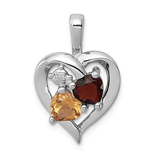 925 Sterling Silver Red Garnet Yellow Citrine Diamond Pendant Charm Necklace Gemstone Fine Jewelry Gifts For Women For Her