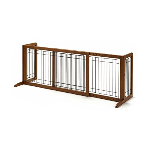 Richell Wood Freestanding Pet Gate, Large, Autumn Matte Finish (Standing Dog)