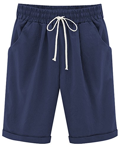 HOW'ON Women's Casual Elastic Waist Knee-Length Curling Bermuda Shorts with Drawstring Navy L ()