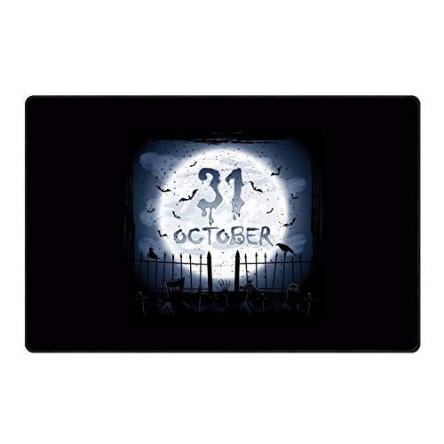 stahhn Cotton Halloween Calendar Entrance Rug 60x39 in