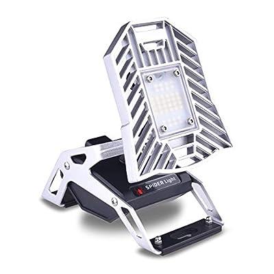 Deformable Led Garage Lights 60W/80W, Ai CAR FUN Led Warehouses Lights for Garage Workshops with 3 Adjustable Panels, Cold/Warm White Flood Light (Camping Lantern)
