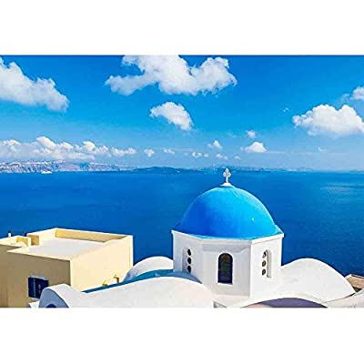 Classic Design, Dazzling Visual, Santorini Island Greece Beautiful View of Blue Ocean and Traditional Dome Church Architecture