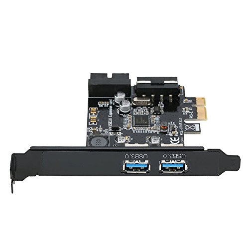 GXG-1987 PCI-E to USB 3.0 2-Port PCI Express Card Mini PCI-E USB 3.0 Hub Controller Adapter with Internal USB 3.0 19-Pin Connector and 5V 4 Pin Male Power Dual Port Connector by GXG-1987 (Image #1)
