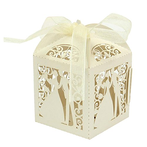 IShine 50pcs Wedding Favors Candy Box Mr Mrs Bride Groom Laser Cut Romantic Gift Boxes With Organza Ribbon for Party Decoration Candy Bar Ivory