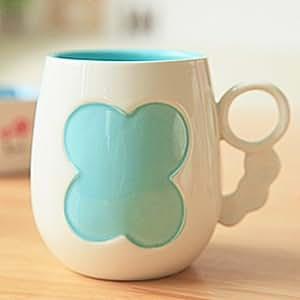 4 Colors Heart Clover Ceramic Mug Cup