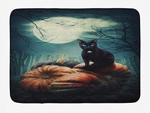 Bright-R Halloween Cat Bath Mat, Horror Night Illustration with Kitty on Old Grunge Pumpkins Haunted Scene, Plush Bathroom Decor Mat with Non Slip Backing, 24