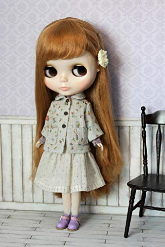 JSB11 Vintage Coat and Long Double Belt Skirt for Blythe Doll Outfit
