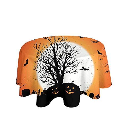Vintage Halloween Leakproof Polyester Tablecloth Grunge Halloween Image with Eerie Atmosphere Graveyard Bats Pumpkins Outdoor and Indoor use D55 Inch Orange Black]()