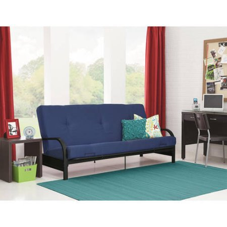 Mainstays Black Metal Arm Futon with Full Size Mattress, Polyester mattress cover, Blue