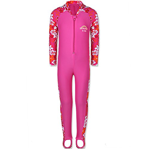 TFJH E 1PCS Girls Long Sleeve Swimsuit UPF 50+ Rashguard 2-3Years HotPink Long by TFJH E