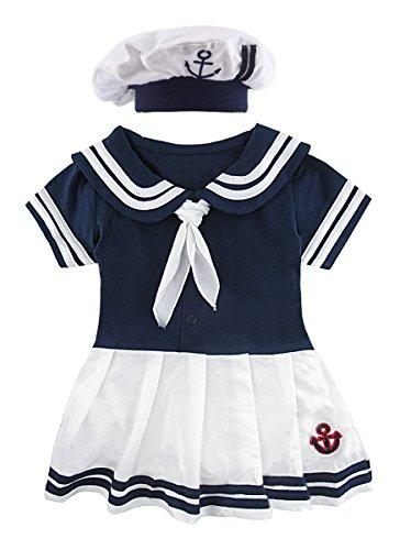 Cosland Baby Girls' 2 Pieces Sailor Dress Bodysuit with Hat (Royal Blue, 6-12 Months) -
