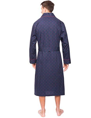 Men's 100% Premium Cotton Robe - Diamond Checks Black/Red - L/XL by Noble Mount (Image #2)