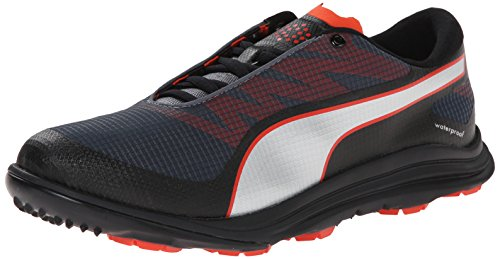 PUMA Men's Biodrive Golf Shoe, Black/Turbulence Red, 8.5 M US by PUMA