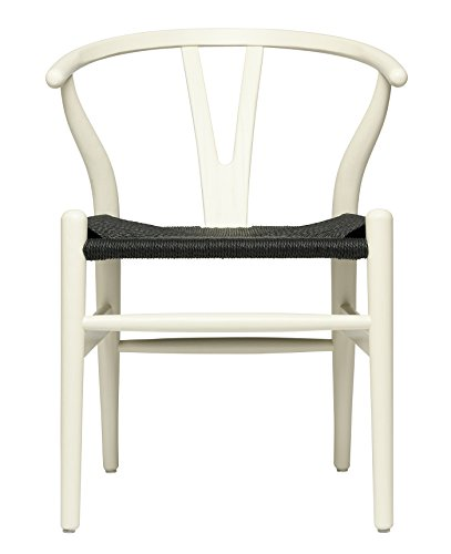 Hans Wegner Wishbone Style Woven Seat Chair (Rustic White with Black ()
