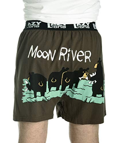 Moon River Soft Comical Boxers for Men by LazyOne | Funny Mens Boxers (Medium)