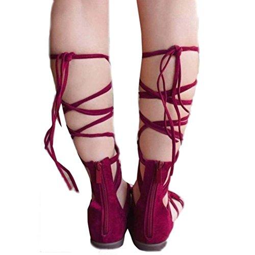Sandalias de vestir, Ouneed ® Sandalias romanas de verano de las mujeres Rojo