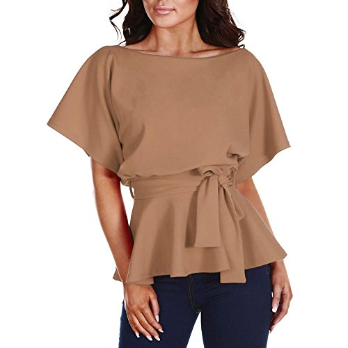 HIRIRI Women's Sexy Dress Ladies V-Neck Elegant Long Sleeve Blouse Shirts Pure Color Tops (S, Khaki)