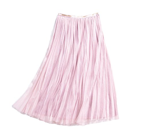 e Tulle Skirt with Metallic Shiny Shimmer Lining and Elastic High Waist (Pink) ()