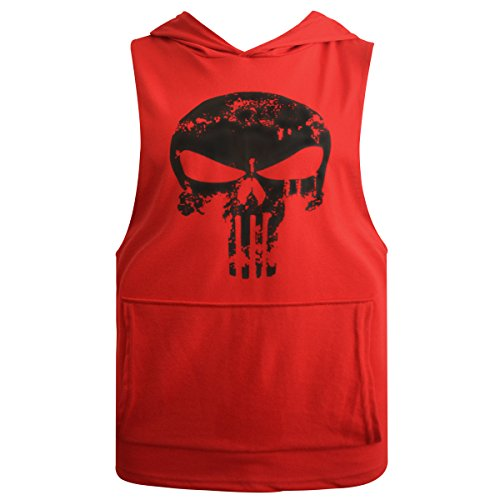 GZXISI Men's Fitted Muscle Cut Workout Tank Tops Gym Bodybuilding Stringer Hoodie Fitness Vest (Large, Red ()