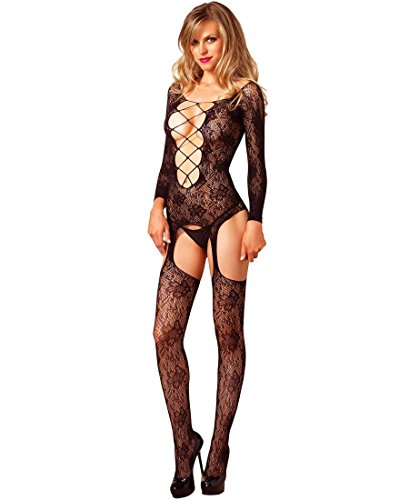 Leg Avenue Lace Bodystocking - Leg Avenue Women's Seamless Floral Lace Long Sleeve Suspender Bodystocking - Black - One Size