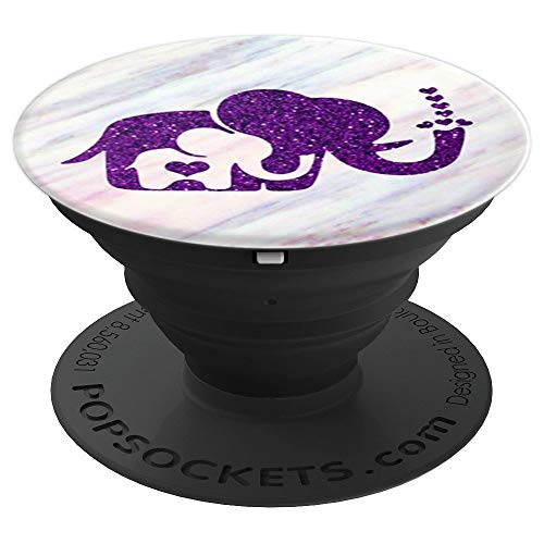 - Purple, Baby Elephant, Mama, Heart, Sparkle Pink Marble Cute - PopSockets Grip and Stand for Phones and Tablets