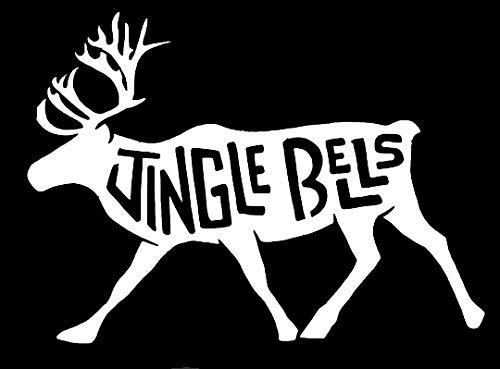 (LLI Jingle Bells Moose | Decal Vinyl Sticker | Cars Trucks Vans Walls Laptop | White | 7.5 x 5 in | LLI1200 )
