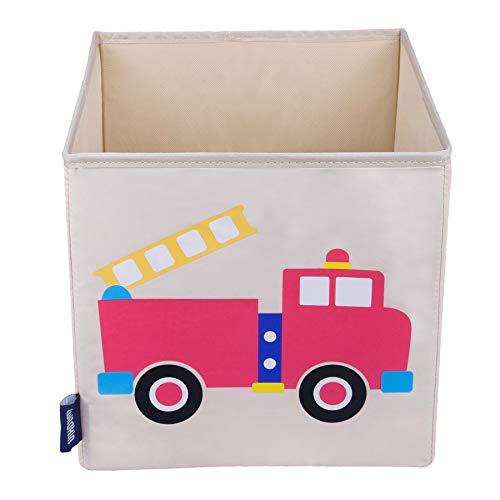 Wildkin 10 Inch Storage Cube, Perfect for Promoting Organization, Measures 10 x 10 x 10 Inches, Coordinates with Other Room Décor – Olive Kids Design, Fire Truck