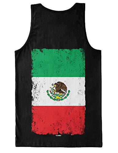 Distressed Mexico Flag - Mexican Eagle Latino Men's Tank Top (Black - Back Print, Small)